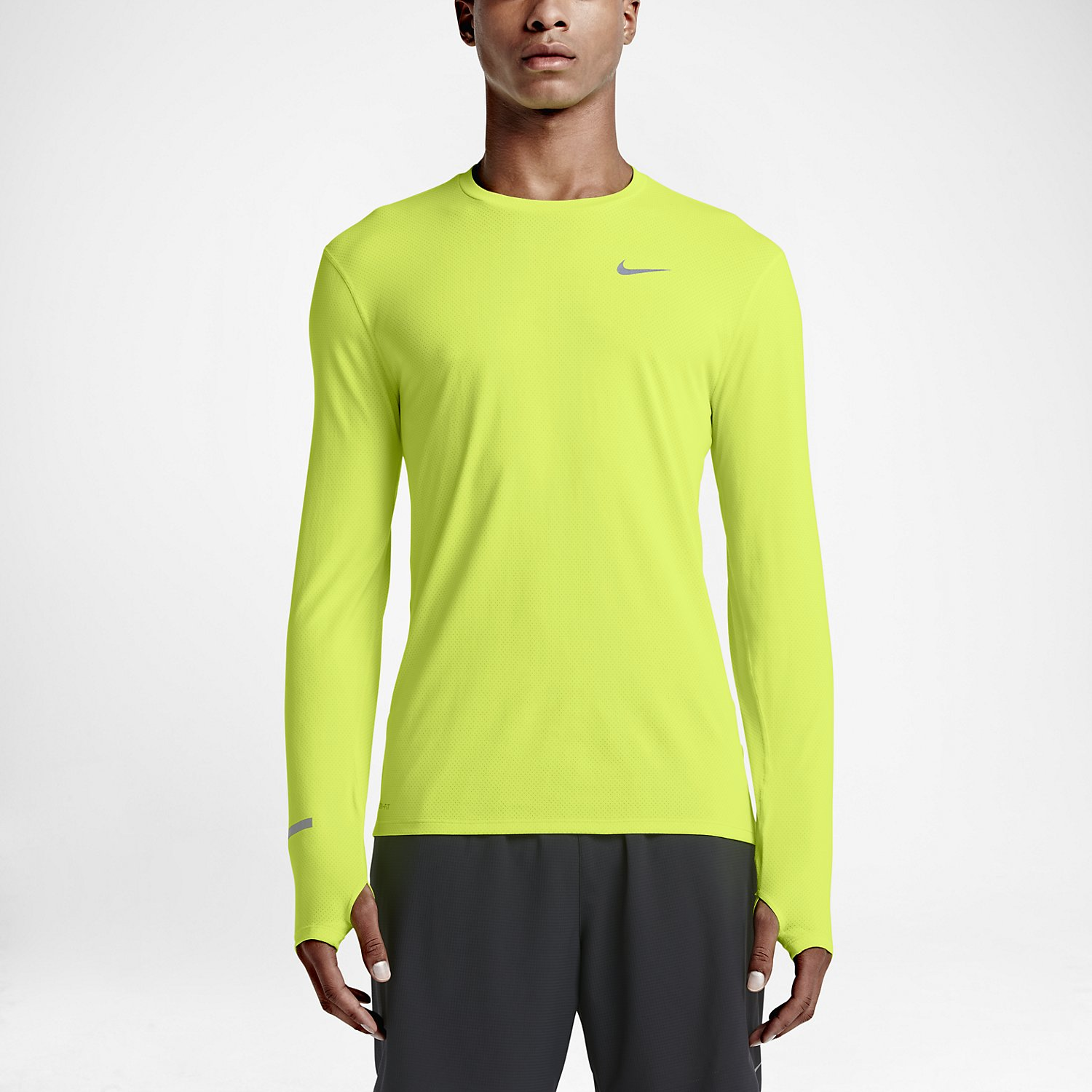 Nike dri fit contour long sleeve men 39 s running top alton for Best athletic dress shirts