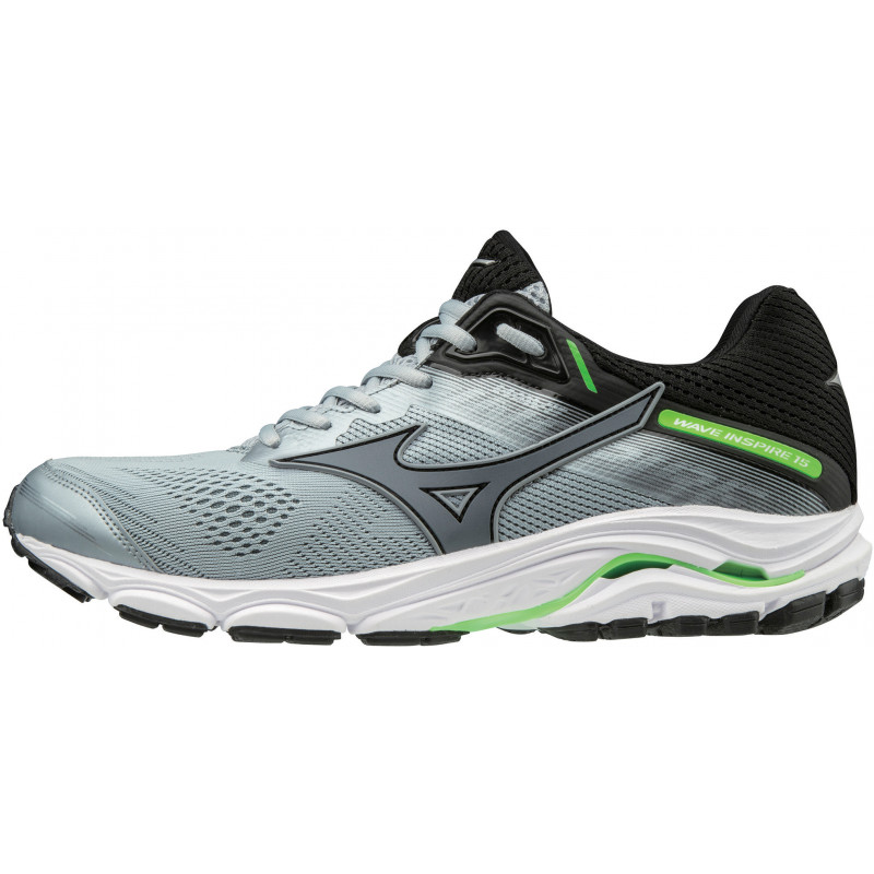 206053ccaab0 Mizuno Wave Inspire 15 Men's Running | Grey/Green - ALTON SPORTS