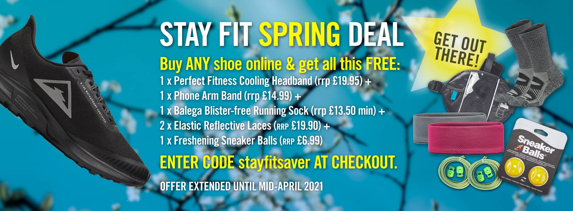 stayfitsaver offer - buy any shoe and get extras worth over 75GBP free